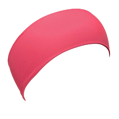 L. Erickson Italian Bandeau Stretch Headband in Bright Guava Pink