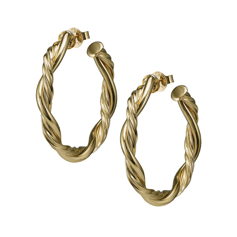 Sheila Fajl Twisted Rope 2 inch Hoop Earrings in Polished Gold Plated