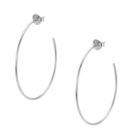 Sheila Fajl Briana Hoop Earrings with CZ Accent in Silver Plated