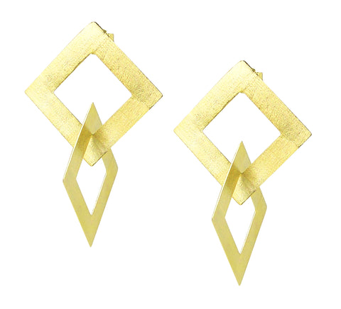 Sheila Fajl Boone Double Square Dangle Earrings in Gold Plated