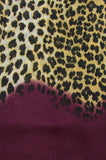 Section Swatch of Blue Pacific Animal Print Cashmere and Silk Scarf in Burgundy Brown Purple Fig and Tan