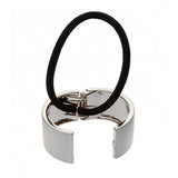 image of L. Erickson Silver Brushed Metal Pony Cuff Hair Tie open