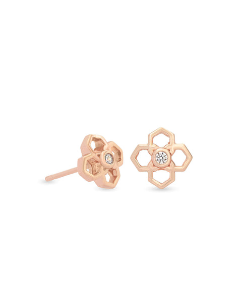 Kendra Scott Rue Logo Stud Earrings in CZ and Rose Gold Plated