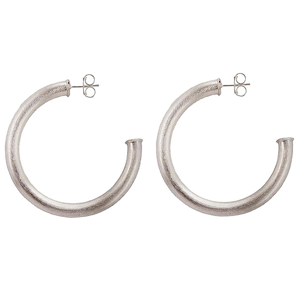 Sheila Fajl 2 inch Thick Smaller Arlene Hoop Earrings in Brushed Silver Plated