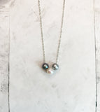 Chan Luu Pearl Trinity Pendant Necklace in Grey Mix and Silver