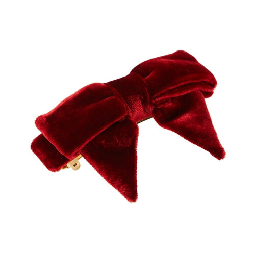 L. Erickson Square Bow Barrette Dark Red Claret Velvet and Gold Tone