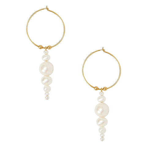 Chan Luu Graduated Drop Pearl Dangle Hoop Earrings in White Pearl and Gold