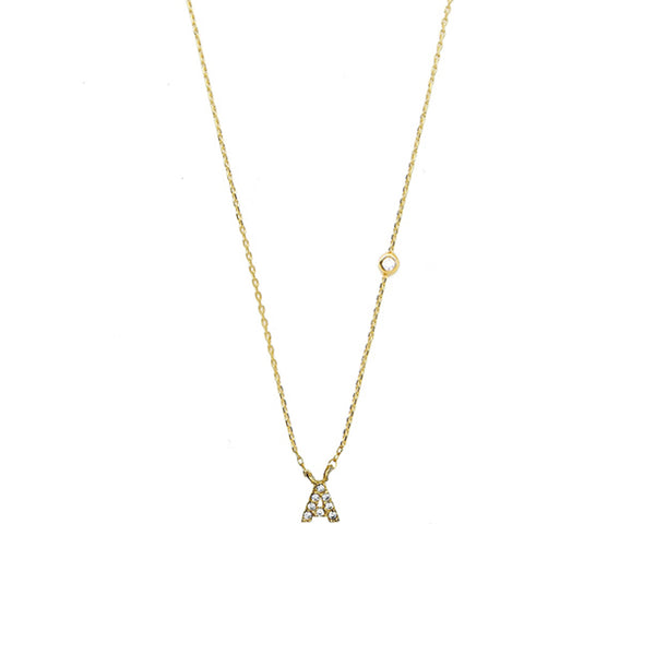 Tai Delicate Initial Pendant Necklace in Clear CZ and 14k Gold Plated
