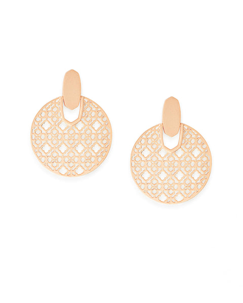 Pair of Kendra Scott Didi Statement Filigree Earrings in Rose Gold Plated