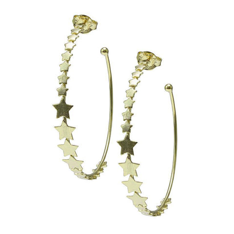 Sheila Fajl Small Altair Multi Star Hoop Earrings in Gold Plated