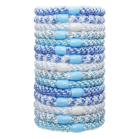L.Erickson Grab and Go Pony Tube Hair Ties in Blue Wave 15 Pack
