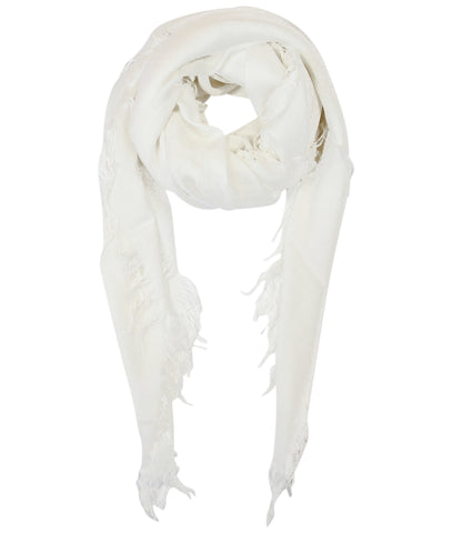 Blue Pacific Tissue Solid Modal and Cashmere Scarf Shawl in Bright White