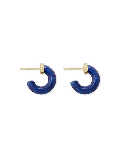 Kendra Scott Mikki Huggie Hoop Earrings in Cobalt Blue Howlite and Gold
