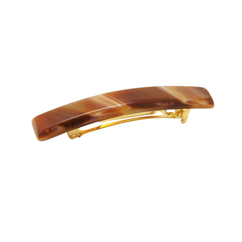 France Luxe Small Luxury Rectangle Barrette in Caramel Horn