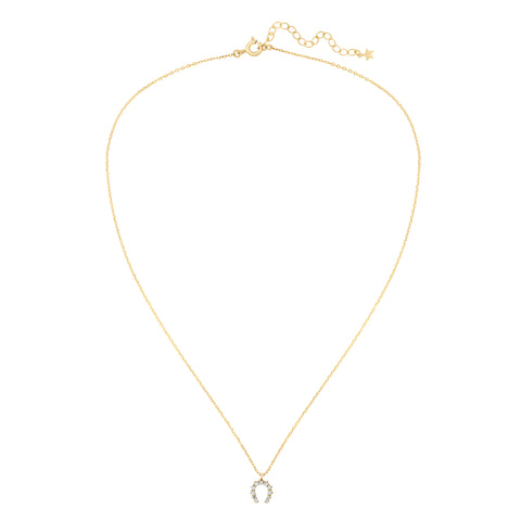 Five and Two Hazel Horseshoe Charm Pendant Necklace in Clear CZ and Gold