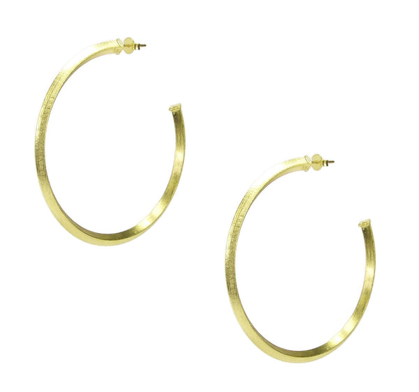 Pair of Sheila Fajl Celine Pyramid Hoop Earrings in Gold Plated
