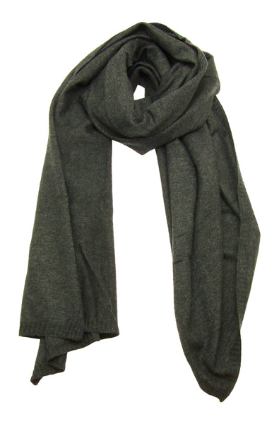 Primary Rolled View of Blue Pacific Cashmere and Wool Blanket Scarf in Dark Charcoal Grey Black