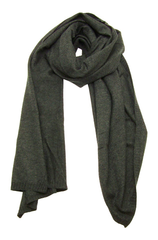 Blue Pacific Cashmere and Wool Blanket Scarf in Charcoal Black