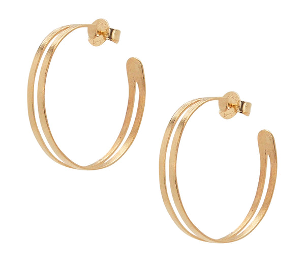 Pair of Sheila Fajl Eclipse Split Hoop Earrings in Rose Gold Plated