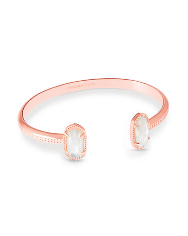 Kendra Scott Elton Open Bangle Bracelet in Ivory Pearl and Rose Gold
