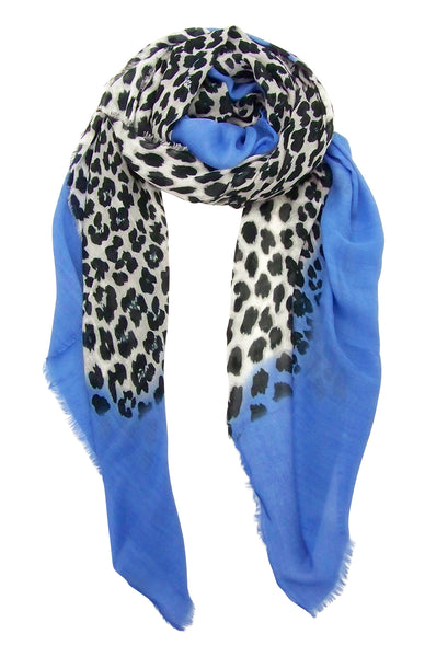 Primary Rolled View Blue Pacific Animal Print Cashmere and Silk Scarf in Denim and Snow