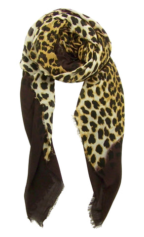 Blue Pacific Animal Print Dip Cashmere and Silk Scarf in Coffee and Tan