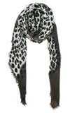 Primary Rolled Blue Pacific Animal Print Cashmere and Silk Scarf in Grey Slate and White