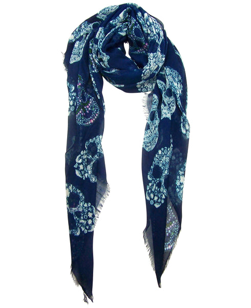 Primary Rolled Blue Pacific Frida Cashmere and Silk Scarf with White Sugar Skulls in Navy Blue