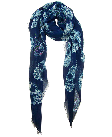 Blue Pacific Frida Cashmere and Silk Scarf with Sugar Skulls in Navy