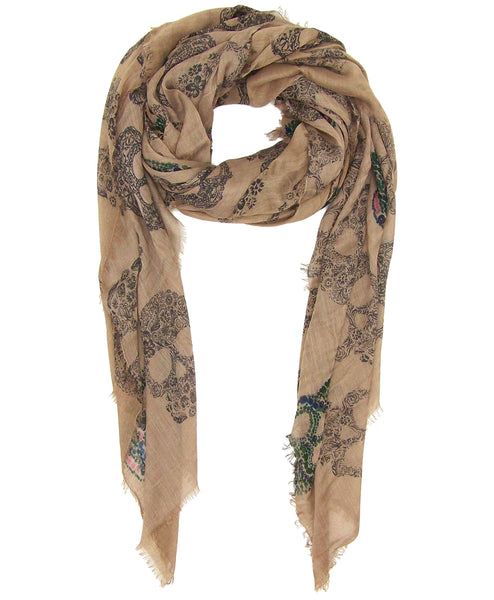 image of Blue Pacific Frida Cashmere and Silk Scarf with Sugar Skulls in Taupe