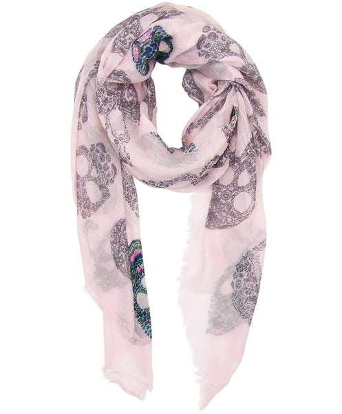 image of Blue Pacific Frida Cashmere and Silk Scarf with Sugar Skulls in Pink