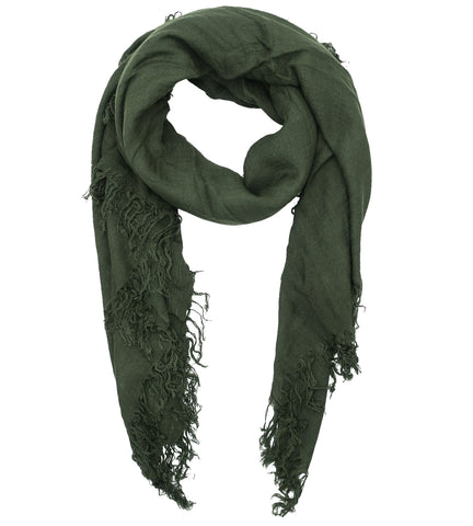 Blue Pacific Tissue Solid Modal and Cashmere Scarf in Deep Dark Forest Green