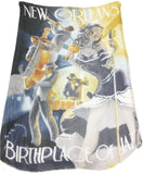Blue Pacific New Orleans Jazz Cashmere and Silk Scarf
