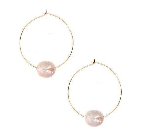 Chan Luu 1.50 inch Pink Floating Pearl Hoops in Gold Plated