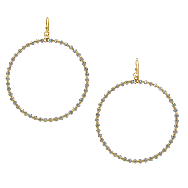 image of Chan Luu Gold Hoop Earrings with Blue Crystals and Gold Seed Beads