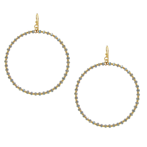 Chan Luu 2 Inch Gold Hoop Earrings with Allure Blue Crystals and Gold Seed Beads