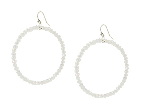 Chan Luu 2.25 Inch Silver Hoop Earrings in White Iridescent Crystals