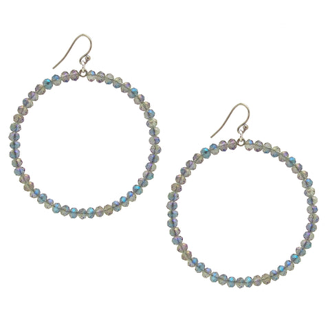 Chan Luu 2.25 Inch Silver Hoop Earrings in Denim Blue Iridescent Crystals