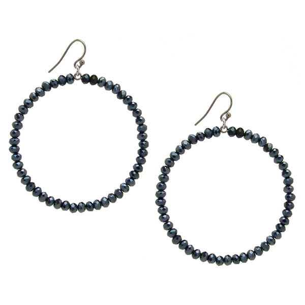 Chan Luu 2.25 Inch Silver Hoop Earrings in Midnight Navy Blue Crystals