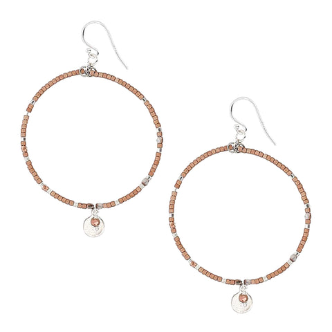 Chan Luu Silver Hoop Earrings in Copper Seed Beads with Dangle Charm