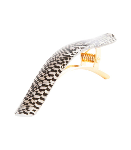 Ficcare Ficcarissimo Hair Clip in Black and Pearl Checkers and Gold Plated