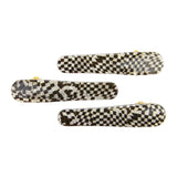 Ficcare Ficcaritos Hair Clip Pair in Black and Pearl Checkers