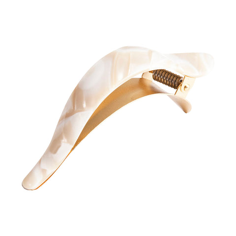 Ficcare Maximas Hair Clip in White and Tan Alba Acetate with Gold