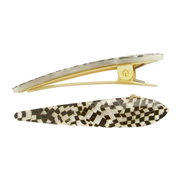 image of Ficcare Mini Maximas Hair Clip Pair in Black and Pearl Checkers