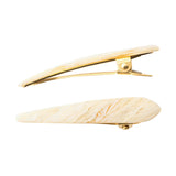 Ficcare Mini Maximas Hair Clip Pair in Pearl Acetate and Gold
