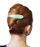 Ficcare Maximas Hair Clip in Sahara Agave Green Enamel and Gold Plated