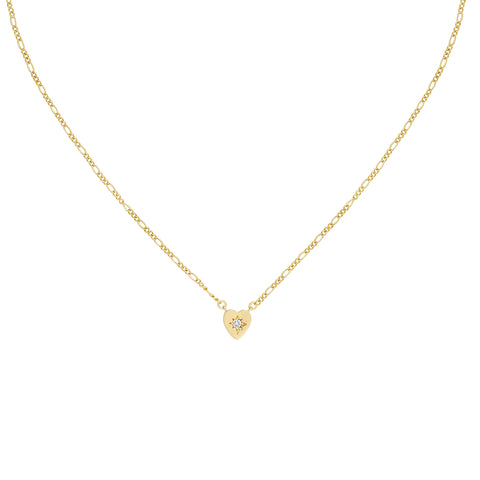 Five and Two Alice Heart Pendant Necklace in Clear CZ and Gold Plated