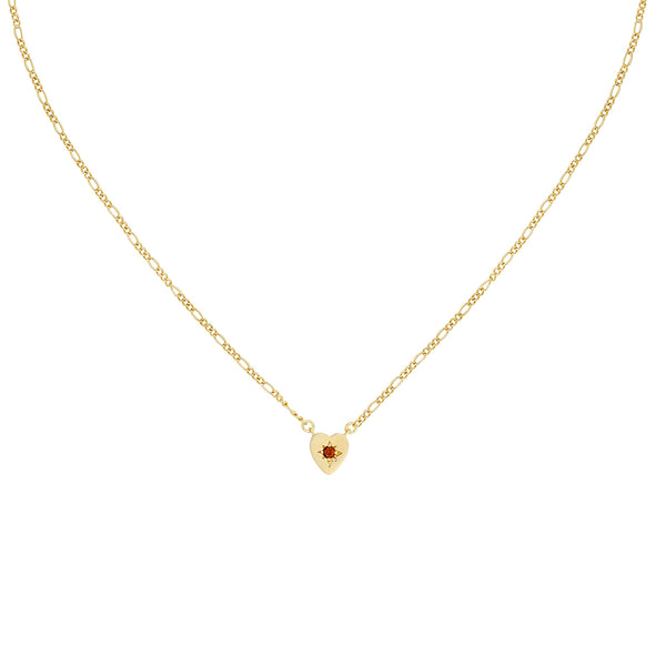 Five and Two Alice Heart Pendant Necklace in Red CZ and Gold Plated