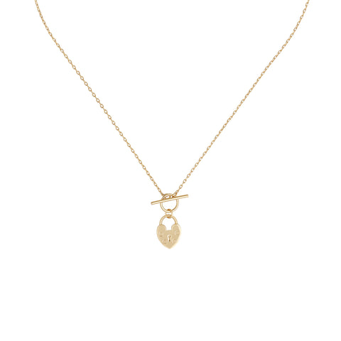 Five and Two Angelina Heart Lock Toggle Pendant Necklace in Gold Plated
