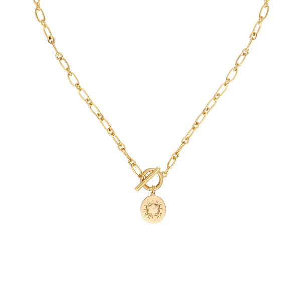Five and Two Salem Oval Starburst Charm Pendant Necklace in 14k Gold Plated